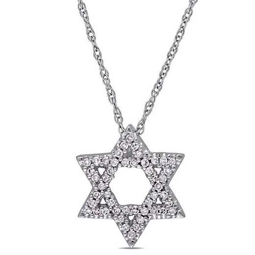 "BAL000627: 1/6 CT TW Dmnd ""Star of David"" PNDT W/ Cha  10k WHT GLD"