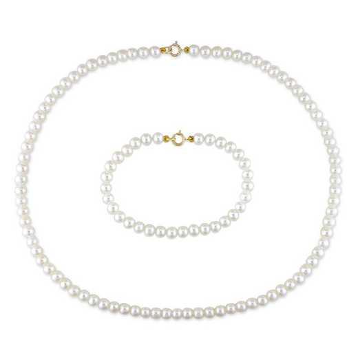 BAL000647: Pearl 3.5-4mm Baby Strand/Bracelet 2PC ST 10k YLW GLD