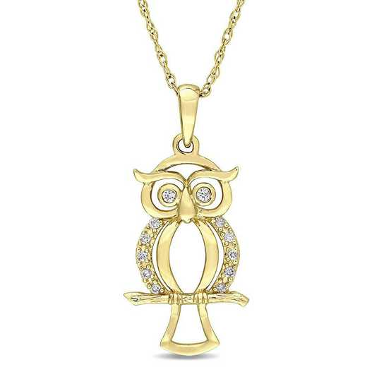 BAL000666: Dmnd Accent Owl Necklace  14k YLW GLD