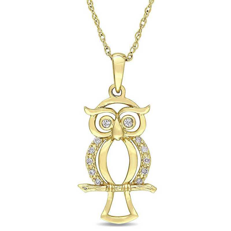 BAL000666: Dmnd Accent Owl Necklace  14k YLW GLD