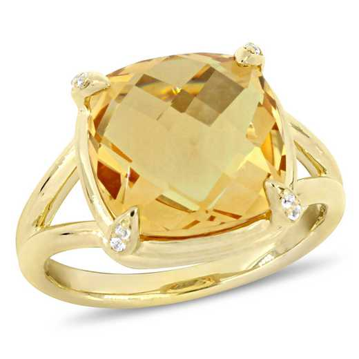 Citrine and White Topaz Split Shank Cocktail Ring in Yellow Plated Sterling Silver