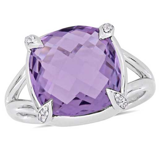 Amethyst and White Topaz Split Shank Cocktail Ring in Sterling Silver