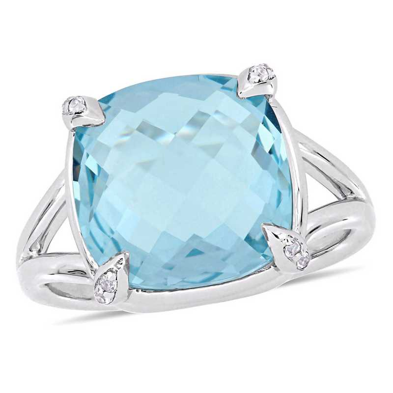 Blue Topaz and White Topaz Split Shank Cocktail Ring in Sterling Silver