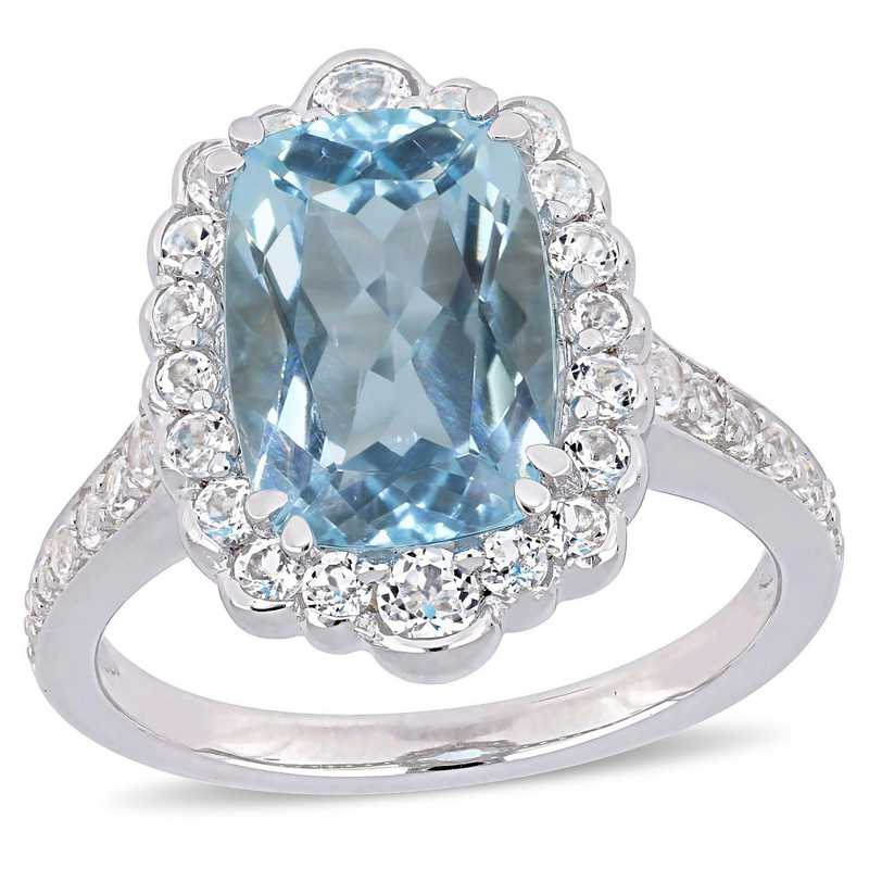Blue Topaz and White Topaz Halo Cocktail Ring in Sterling Silver