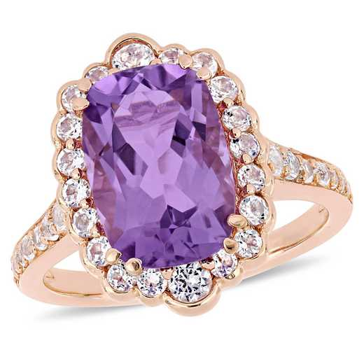 Amethyst and White Topaz Halo Cocktail Ring in Rose Plated Sterling Silver