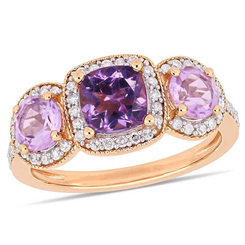 Amethyst & Rose de France with 1/3 CT TW Diamond Halo 3-Stone Ring in Rose plated Sterling Silver