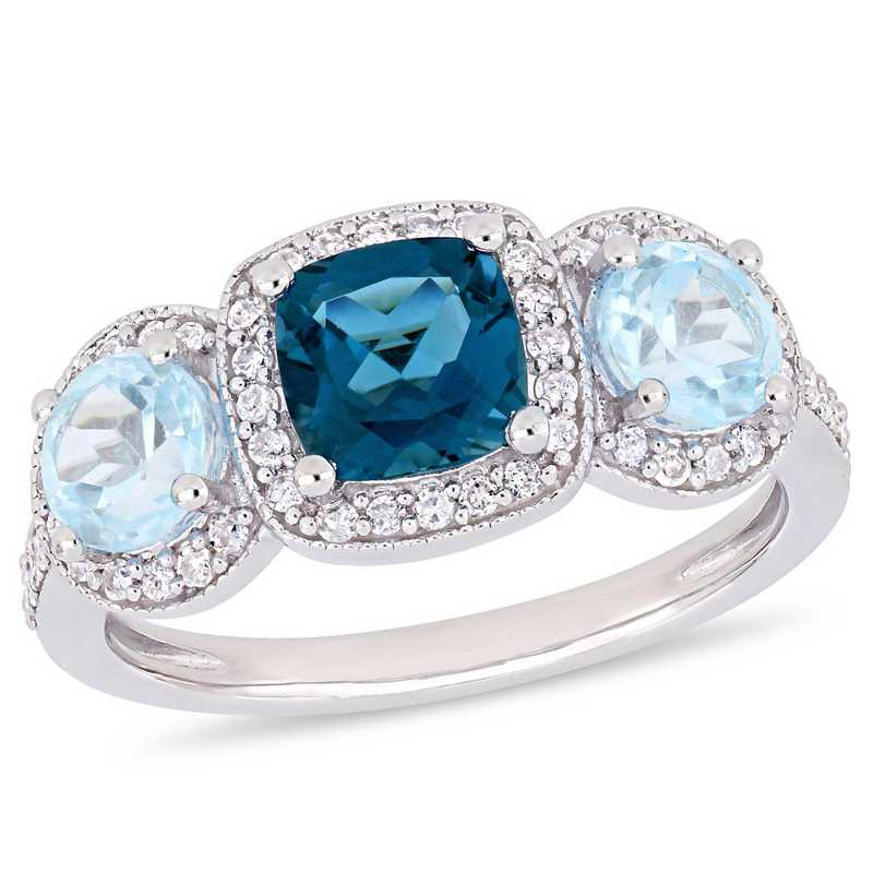 Blue Topaz and 1/3 CT TW Diamond Halo 3-Stone Ring in Sterling Silver
