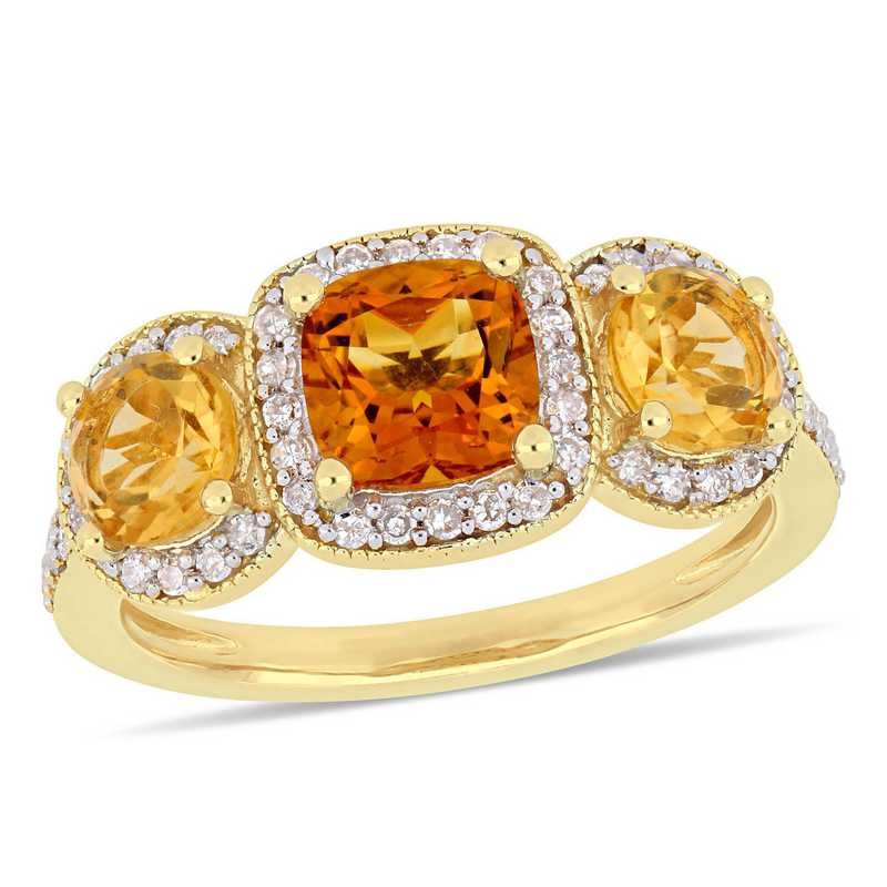 Citrine and 1/3 CT TW Diamond Halo 3-Stone Ring in Yellow plated Sterling Silver