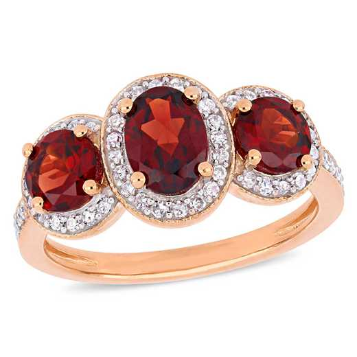 Oval-Cut Garnet and 1/3 CT TW Diamond Halo 3-Stone Ring in Rose plated Sterling Silver