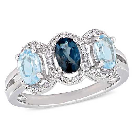 Oval-Cut Blue Topaz and 1/5 CT TW Diamond Halo 3-Stone Ring in Sterling Silver
