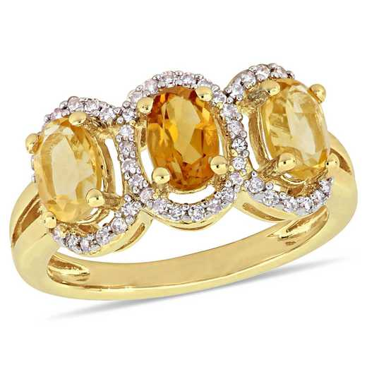 Oval-Cut Citrine and 1/5 CT TW Diamond Halo 3-Stone Ring in Yellow plated Sterling Silver