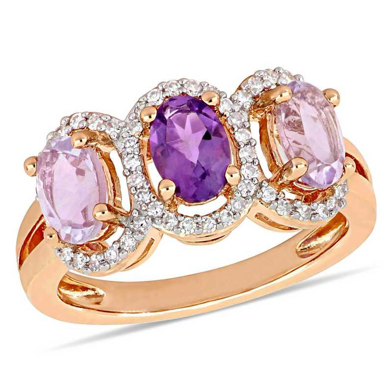 Oval-Cut Amethyst & Rose de France with 1/5 CT TW Diamond Halo 3-Stone Ring in Rose plated SS