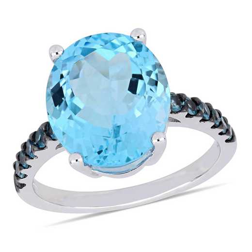 Oval-Cut Blue Topaz Ring in Sterling Silver