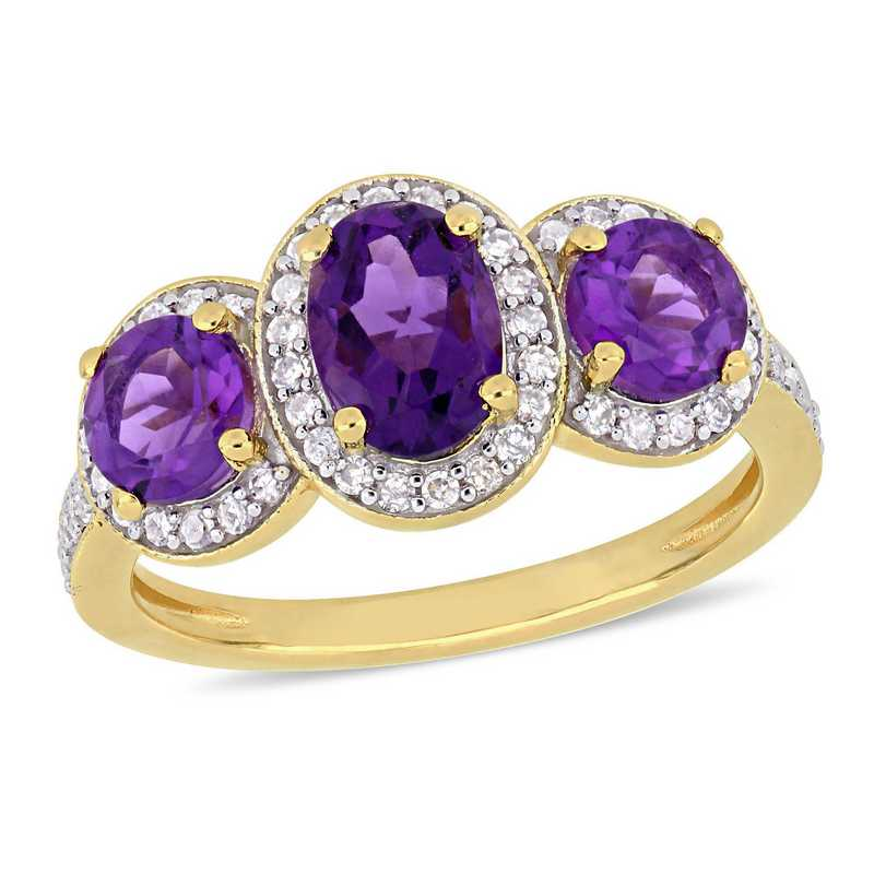 Oval-Cut Amethyst and 1/3 CT TW Diamond Halo 3-Stone Ring in Yellow plated Sterling Silver