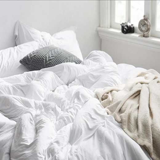 BAREBC-BYB-WHT-TXL: Bare Bottom Comforter - XL Twin Long Bedding White