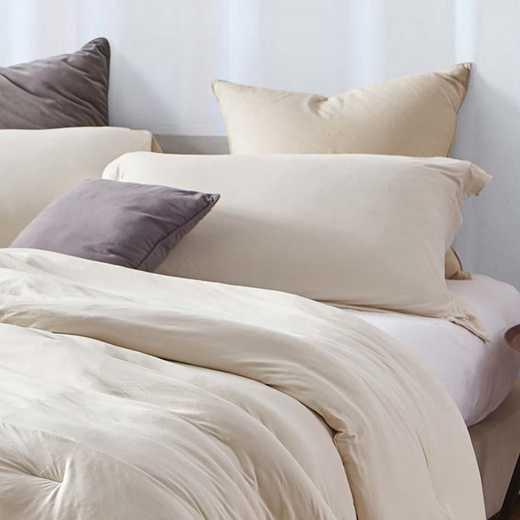 BAREBS-BYB-STND-AM-2PACK: DormCo Bare Bottom Dorm Pillow Sham 2 Pack - Almond Milk