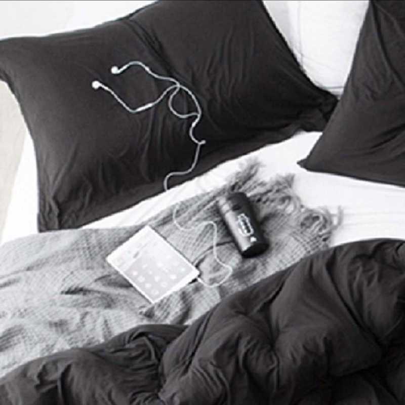 BAREBS-BYB-STND-BLK-2PACK: DormCo Bare Bottom Dorm Pillow Sham 2 Pack - Black
