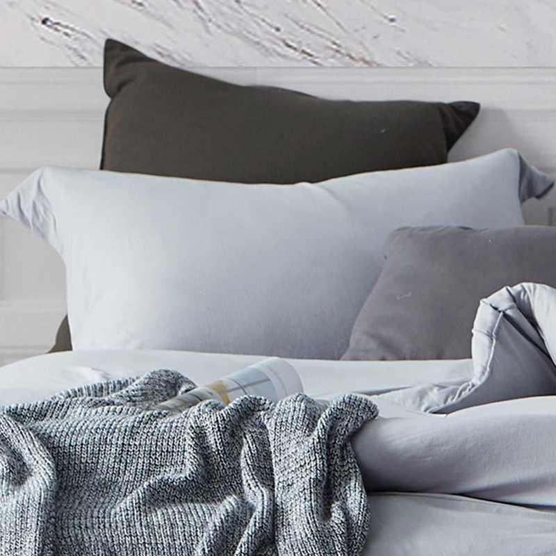 BAREBS-BYB-STND-TG-2PACK: DormCo Bare Bottom Dorm Pillow Sham 2 Pack - Tundra Gray