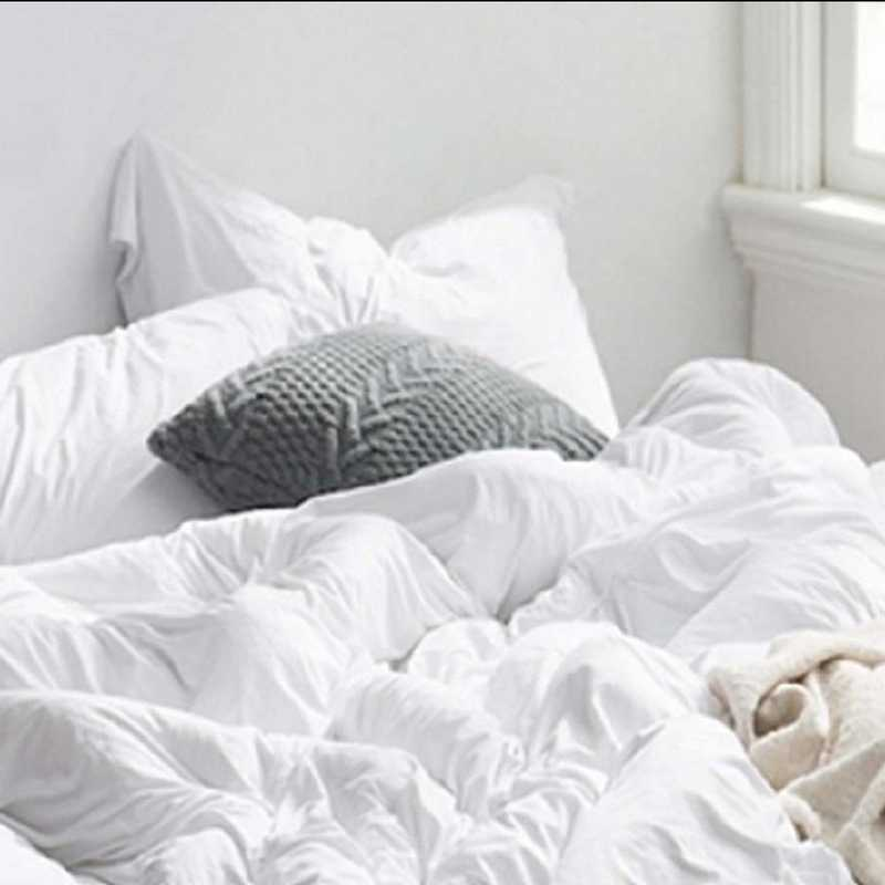 BAREBS-BYB-STND-WHT-2PACK: DormCo Bare Bottom Dorm Pillow Sham 2 Pack - White