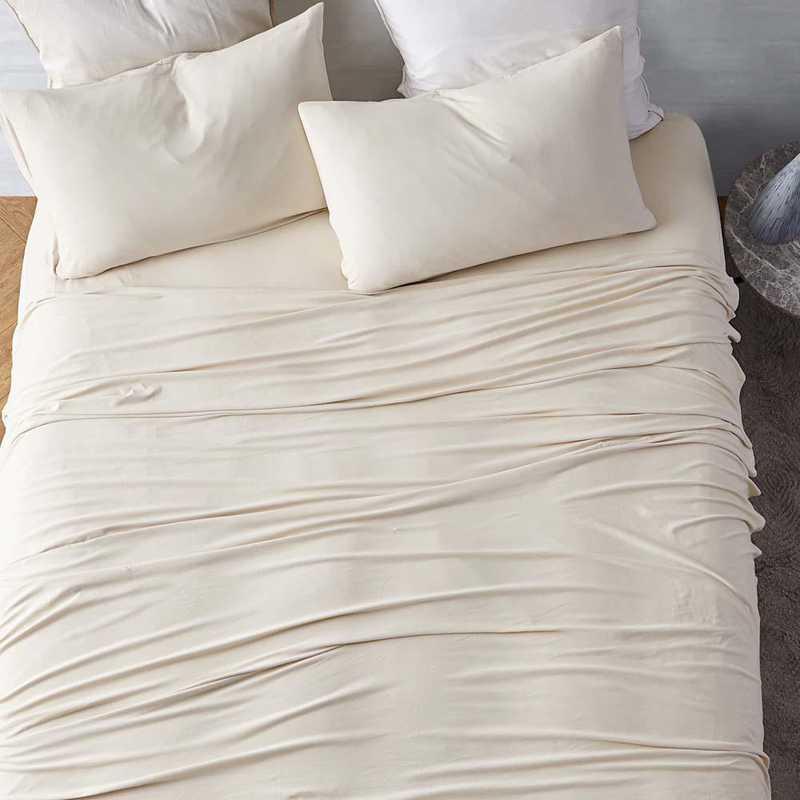 BAREBS-BYB-AM-TXL: Bare Bottom Sheets All Season Twin XL Bedding Almond Milk