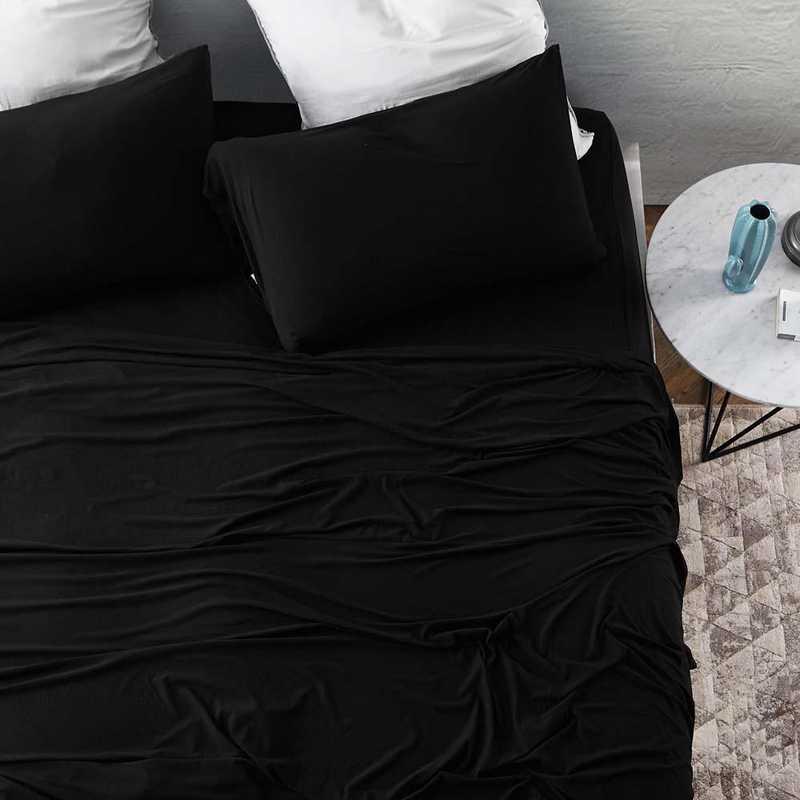 BAREBS-BYB-BLK-TXL : Bare Bottom Sheets - All Season - Twin XL Bedding Black