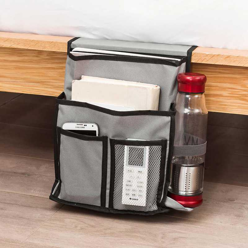 E3-3-2-BEDSIDE-GRAY: DormCo Bedside Caddy - TUSK College Storage - Gray