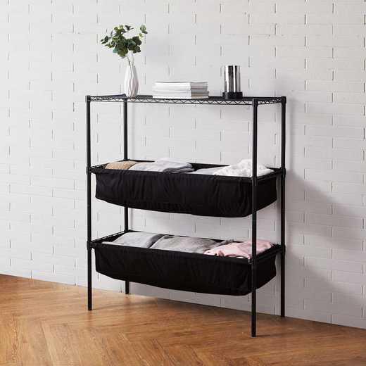 SSS-BS-BLK-BLKFAB: DormCo Suprima Shelf Supreme - Bin Style - Black