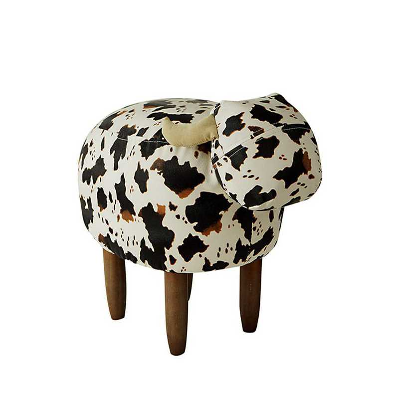 EK-COW607L-WB : Jaxson - Black and White Cow - Dorm Room Seating Stool