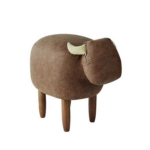 EK-COW607L-BR: Marco - Brown Cow - Dorm Room Seating Stool