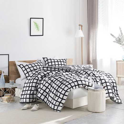 435-COMF-TXL: DormCo Chroma - Black and White -  Twin XL Dorm Comforter