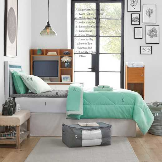 UPGRADED-HMYU: TwinXL  Dorm Bed Pck-TwinXL-Yucca/Mint Set