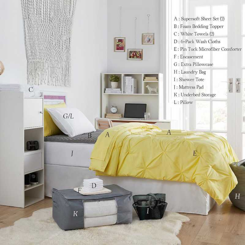 UPGRADED-LYPIN: TwinXL  Dorm Bed Pck-TwinXL-Pin Tuck Lime Yellow Set