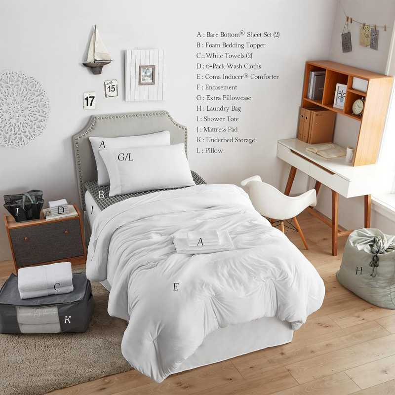 College Dorm Bedding Upgraded Pack Twin XL Bare Bottom White
