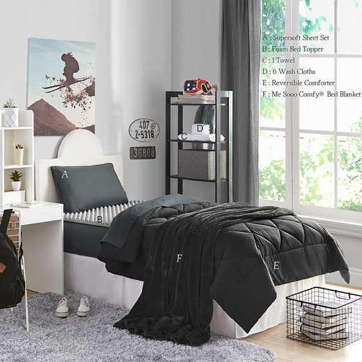 STARTER-A-BLK: TwinXL  Dorm Essnt Pck-TwinXL-Blk Set