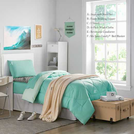 STARTER-A-HMYU: TwinXL  Dorm Essnt Pck-TwinXL-Yucca/Mint Set