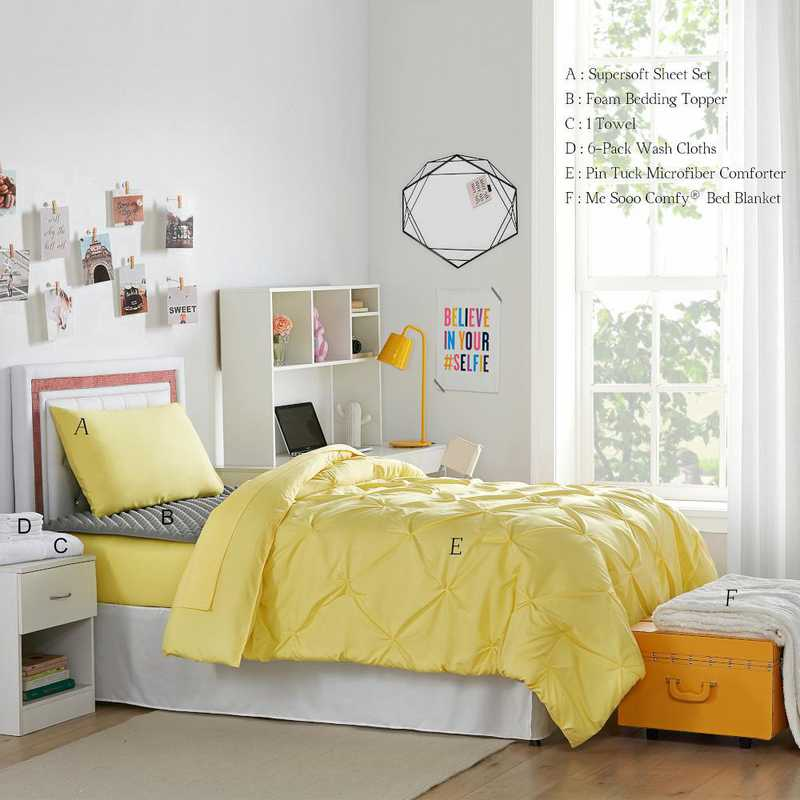 STARTER-A-LYPIN: TwinXL  Dorm Essnt Pck-TwinXL-Pin Tuck Lime Yellow Set