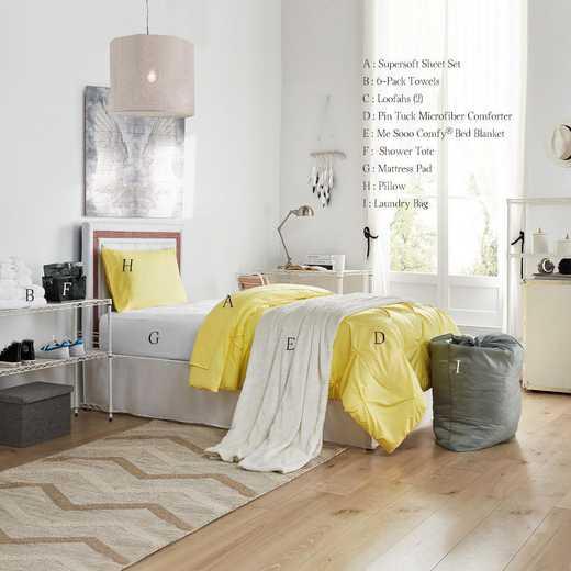 STARTER-B-LYPIN: TwinXL   Freshman Dorm Pck-TwinXL-Pin Tuck Lime Yellow Set
