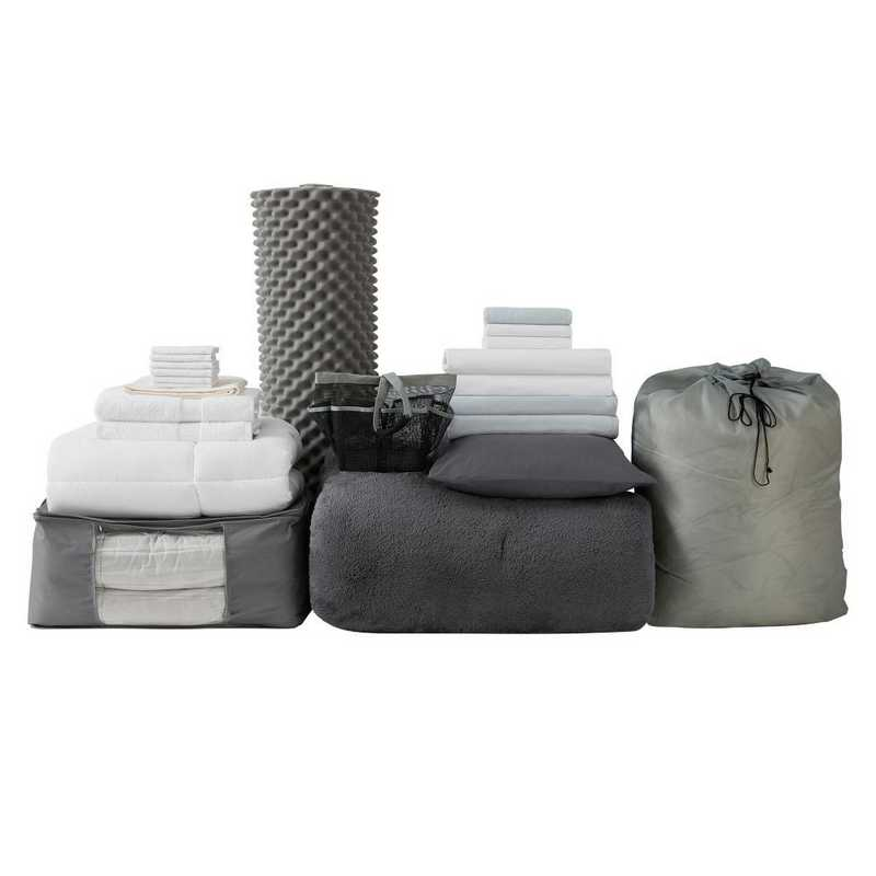 UPGRADED-CHAR: TwinXL  Dorm Bed Upgrad Pck-TwinXL-Coma Inducer Charcoal Set