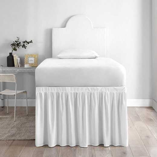 DS-BSP-WHT-1P: DormCo Dorm Sized Bed Skirt Panel w/Ties (1 Panel) - White