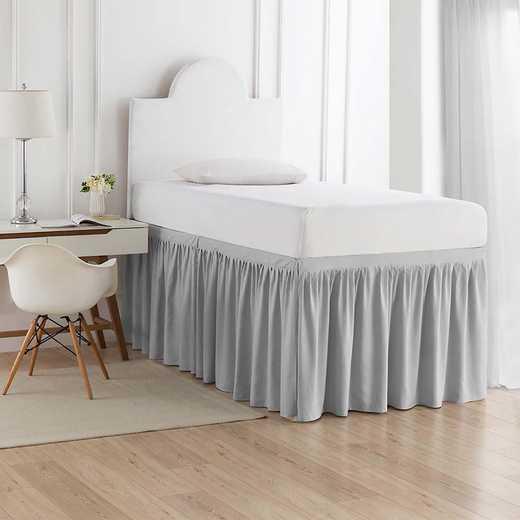 DS-BSP-GG-3P: DormCo Dorm Sized Bed Skirt Panel w/Ties(3PanelSt)GlcrGry