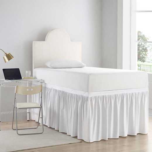 DS-BSP-WHT-3P: DormCo Dorm Sized Bed Skirt Panel w/Ties (3 Panel Set) - Wht