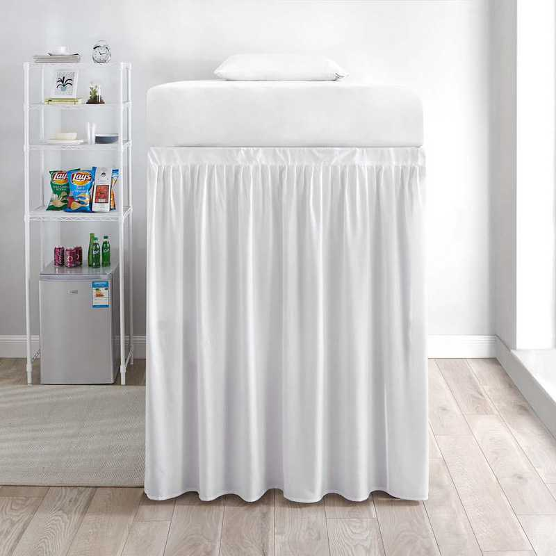 DS-BSP-EXT-WHT-1P: DormCo Extended Dorm Sized Bed Skirt Panel w/Ties1Panel)Wht