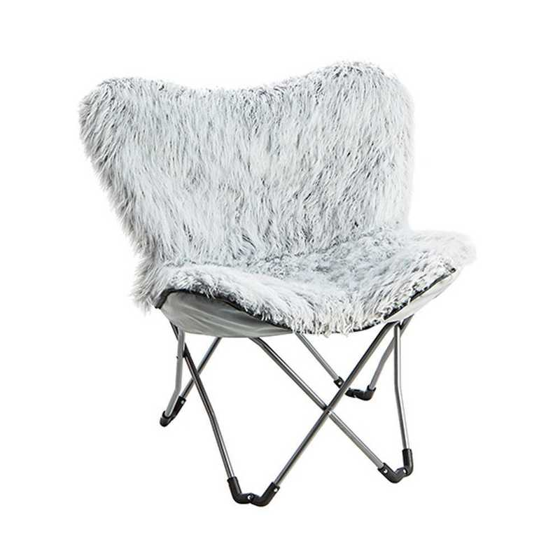 FUR-GLACGRAY: Fur Butterfly Dorm Chair - Glacier Gray