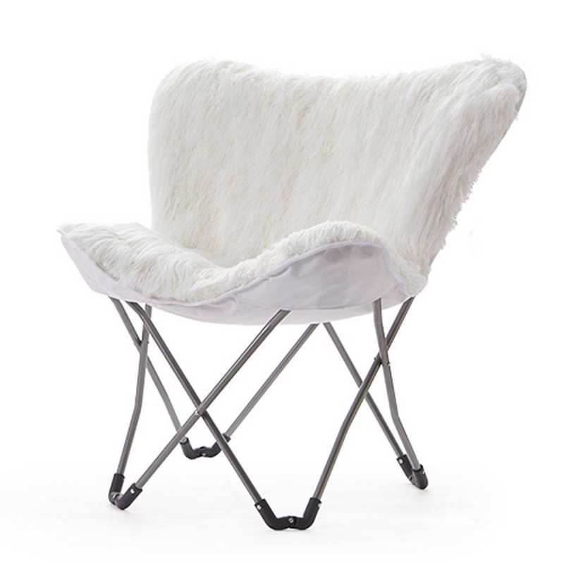 Fur Butterfly Dorm Chair White