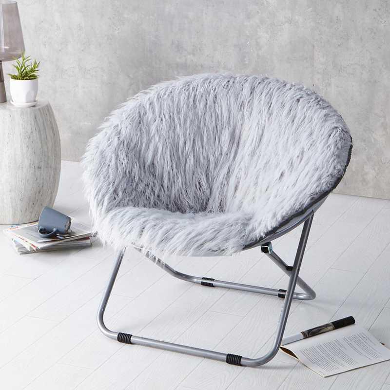 FURMOON-GRAY: Fur Moon Chair - Glacier Gray