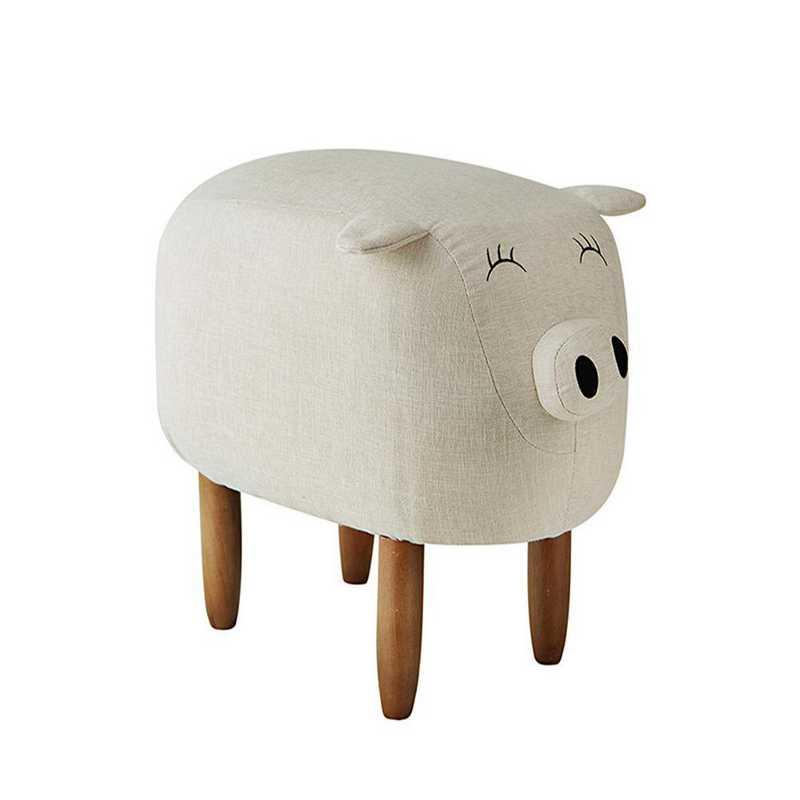 EK-PIG608L-IV: Suzie - Ivory Big Pig - Dorm Room Seating Stool