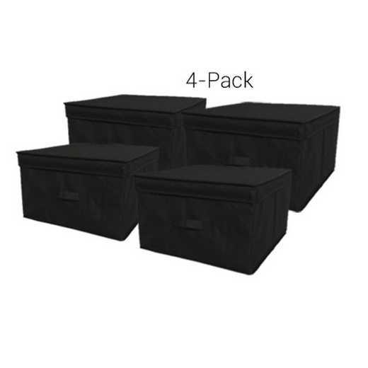 TUSK4JS-BLK: DormCo TUSK Jumbo Dorm Storage Box 4-Pack - Black
