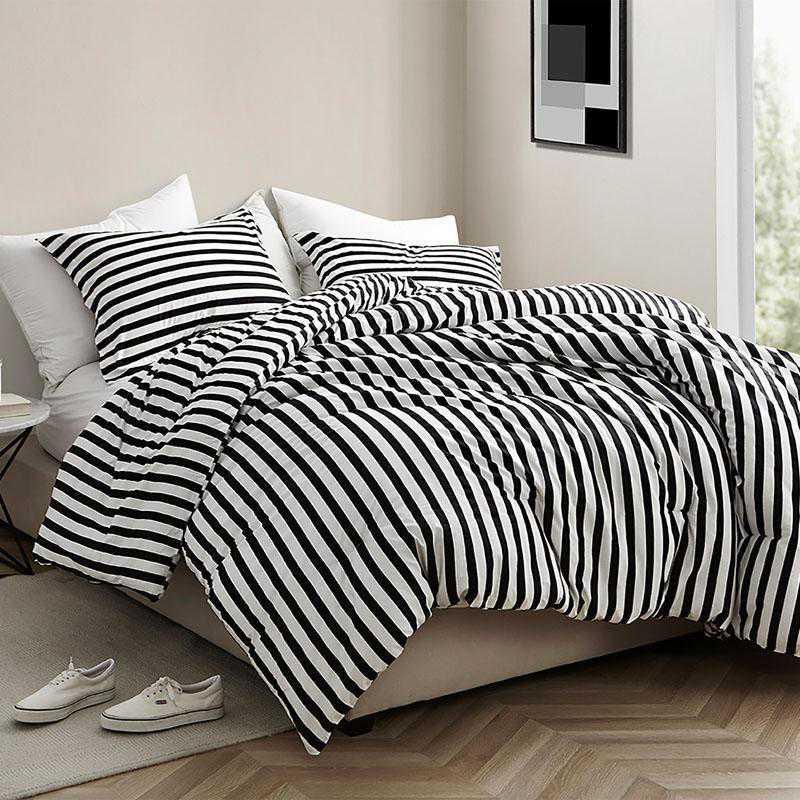 440-COMF-TXL: DormCo Onyx Black and White Striped - Twin XL Dorm Comforter