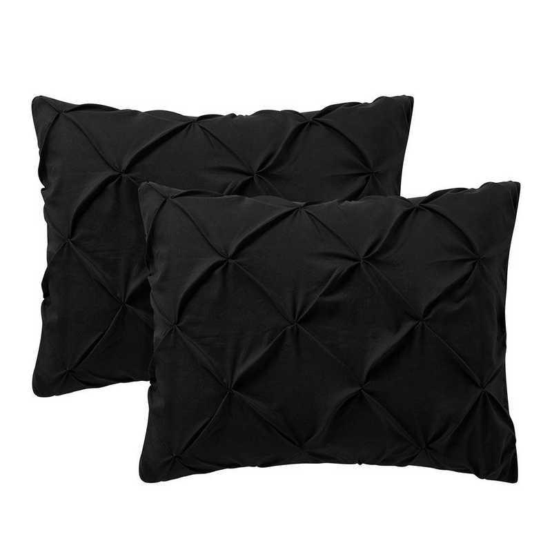 PIN-SSHAM-BLK: Black Pin Tuck Standard College Pillow Shams (2-Pack)