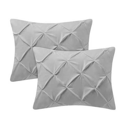 PIN-SSHAM-GLG: Glacier Gray Pin Tuck Standard College Pillow Shams (2-Pack)